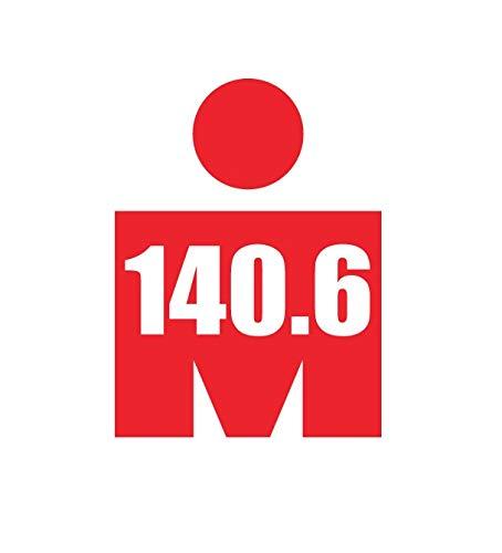 Triathlon 140.6 Ironman Bike Swim Run Marathons Decal Sticker for Car Truck SUV Bumper Window (4.2' x 5.6', Red)