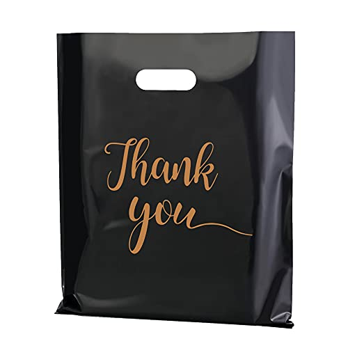 MUKOSEL 100Pcs Thank You Merchandise Bags, Extra Thick 2.36Mil 12x15In Retail Shopping Bags for Goodie bags, Party, Stores, Boutique, Clothes, Reusable Plastic Bags with Handle (Blacke)