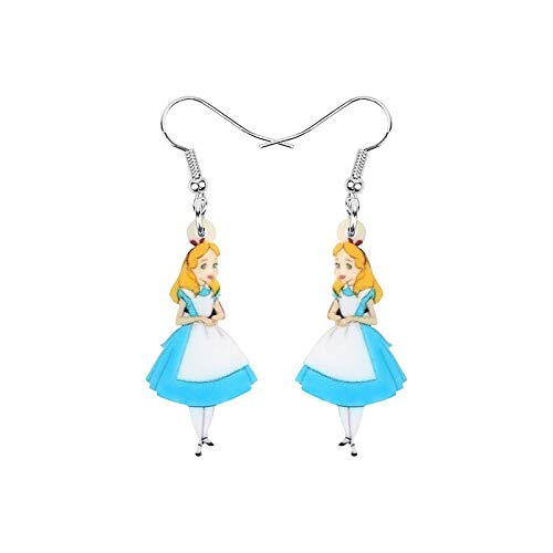 Statement-Ohrringe Alice im Wunderland Acryl bedruckt Blau