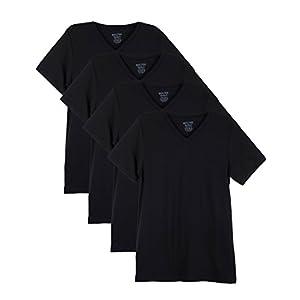 Men's Everyday Cotton Blend V Neck Short Sleeve  4 Pack  T Shirt