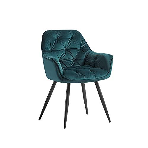 JaHECOME Sessel Esszimmerstuhl aus Stoff (Samt) Wohnzimmerstuhl Farbauswahl Retro Design Armlehnstuhl Stuhl mit Rückenlehne Sessel Metallbeine Schwarz… (Teal, 1)