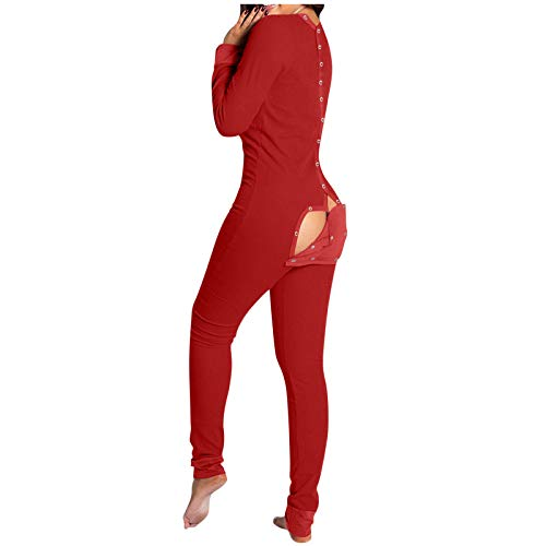 Red Union Suit Men & Women Onesie Pajamas with Funny Butt Flap