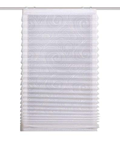 HOME WOHNIDEEN 78604 | Plissee-Rollo Whirl | transparenter Voile, in verschiedenen Breiten, Farbe: Weiß (140 x 120 cm)