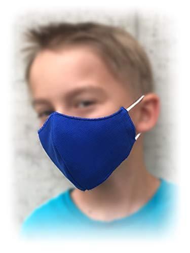 Krings Fashion Gesichts-Maske Mund-Nasen-Maske Alltagsmaske Behelfsmaske für Kinder, Damen und Herren, Royalblau, Jersey 100% Baumwolle, Größe M (Damen, Herren)