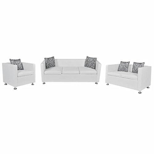 N / A vidaXL Kunstleder Sofa -Set mit Schlaffunktion, 3er Schlafsofa 2er Couch und 1er Sessel, Wohnzimmer Couch, Loungesofa, Kunstlederpolsterung + Holzgestell, für Büro, Wohnzimmer, Weiß