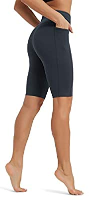 Rataves Women's 10 Inch Yoga Shorts High Waisted Workout Running Walking Athletic Compression Tummy Control Shorts with Pockets for Gym Biker Home Outdoor M Dark Grey