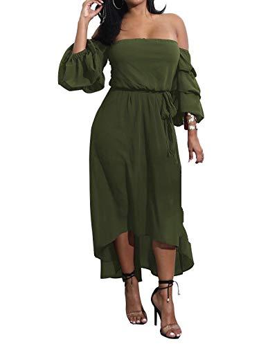 Women Army Green Off Shoulder Three Quarter Sleeve Irregular High Low Dress M