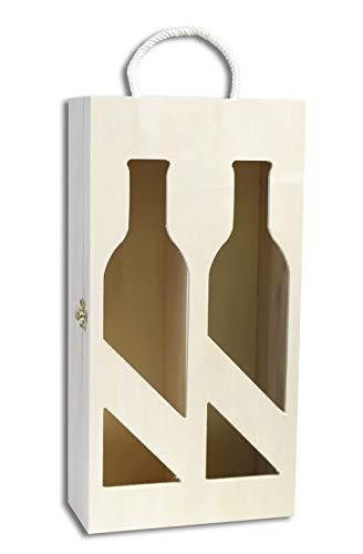 Vetrineinrete® Cassetta Portabottiglie In Legno A 2 Posti Scomparti Personalizzabile Scatola Per Bottiglie Di Vino Champagne Per Decoupage 93099 CE