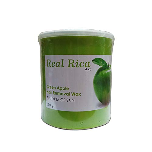 Real Rica Hair Removal Wax Cream for Body - Green Apple Flavor - Waxing for Sensitive Skin - Suitable for Men Women Arms, Legs, Full Body Smooth Skin - Without Strip (800 Gram)