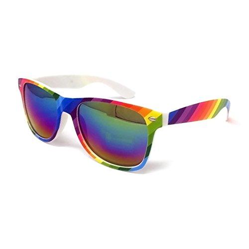 Gafas de sol clásicas con lentes negras – estilo unisex UV400 protectores para hombre y mujer (marco de arco iris, lente con espejo arcoíris)