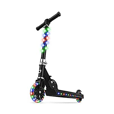 Jetson Jupiter Kick Scooter with LED Light-Up Deck, Stem, and Wheels, for Kids 5 and Up, One Size, Black