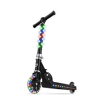 Jetson Electric Bike Jupiter Folding Kick Scooter LED Light-Up Adjustable Handle Bar for Kids Ages 5+  Black