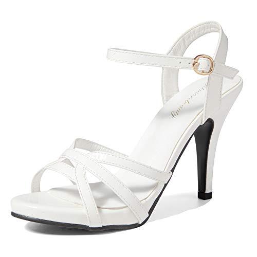 getmorebeauty Damen High Heel Sandalen mit Kreuzriemen Schnalle Lack Hochzeit Tanzkleid Schuhe, Weiá (weiß), 36 EU