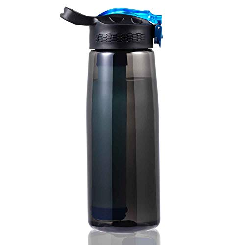 DoBrass Water Filter Bottle for Travel, Camping, Hiking, Outdoor and Daily Use, Filtered Water Bottle with BPA Free and Leakproof - Black