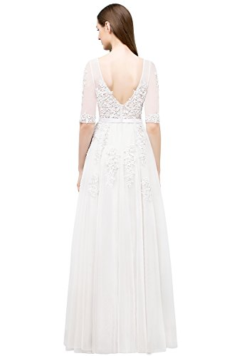MisShow Abendkleider Lang Spitze Elegant Ballkleider Damen Abiballkleid Cocktailkleid lang Weiß 46