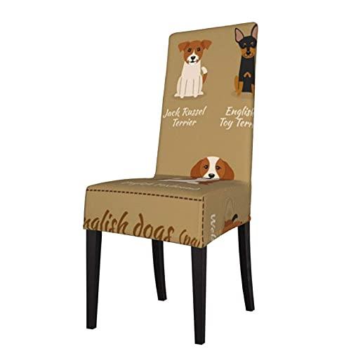 Stuhlbezug Englische Hunderasse Stretch Bedruckte Stuhlhussen Waschbare Stühle Protector Sitzbezug für Stühle