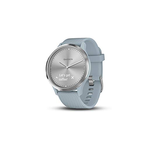 Garmin vivomove HR, Hybrid Smartwatch for Men and Women, Silver with Sea Foam Silicone Band