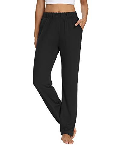 OYANUS Womens Sweatpants with Pockets Wide Leg Yoga Pants Loose Comfy Lounge Pajama Pants Workout Active Joggers Pants Black M