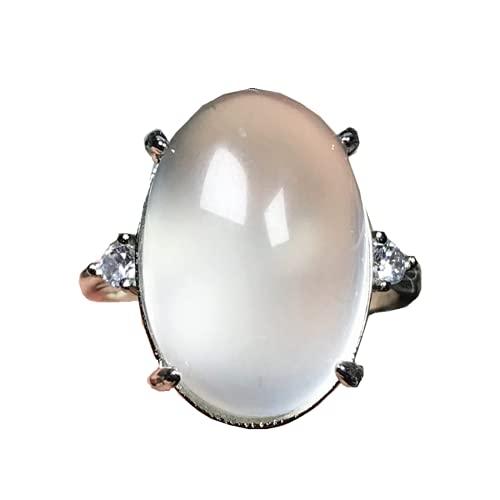 Anillo natural de piedra lunar arco iris piedra piedra lunar joyería para mujeres hombre suerte cristal oval 17x12mm cuentas anillo ajustable AAAAA