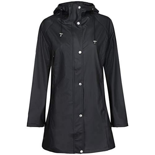 ILSE JACOBSEN HORNBÆK   RAIN87   Leichter Damen Mantel   Regenjacke mit Kapuze und verstellbaren Ärmeln   Polyester mit Gummi Überzug   Wasserdicht Winddicht   Schwarz   36