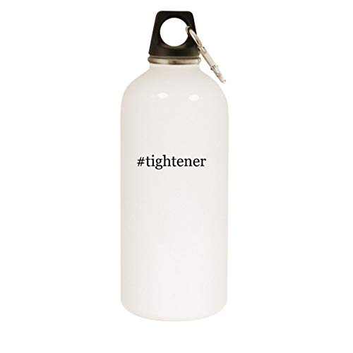 #tightener - 20oz Hashtag Stainless Steel White Water Bottle with Carabiner, White
