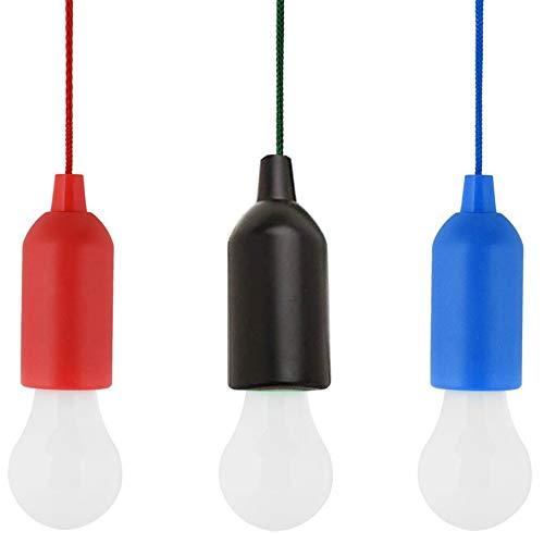 Elinala Bombilla LED Portátil, Bombilla de Tienda de Campaña, 3 Bombillas LED Portátiles Pull Line para Camping, Barbacoa, Festival, Exterior, Fiesta, Decoración, Jardín, Senderismo