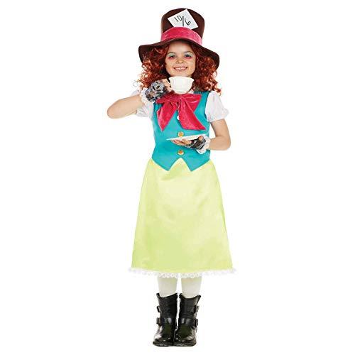 Fun Shack Gelbes Verrückter Hutmacher Kostüm für Mädchen, Alice Verkleidung Kinder, Faschingskostüm Kinder - M