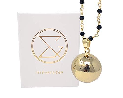 Bola de Grossesse Charlotte - 22 MM COMPLET avec Chaine perlé cristal noir, 100% Plaqué Or, Bille...