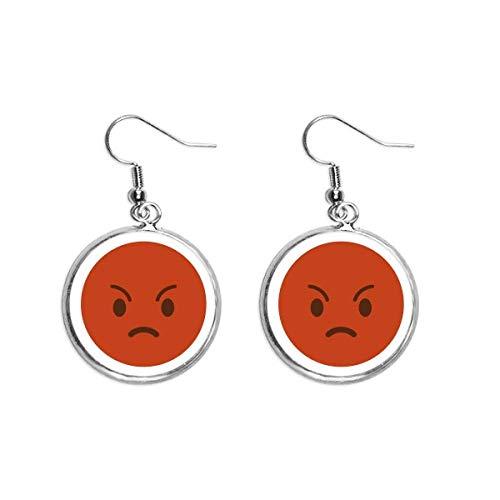 Pendientes colgantes de plata con diseño de oreja de Angry Red Cute Online Chat Happy Ear para mujer