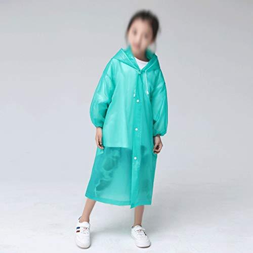 MMAXZ Moda Eva Niños Verde Impermeable Espesado Abrigo Impermeable Abrigo Niños Claro Torno Transparente Impermeable Traje de Lluvia