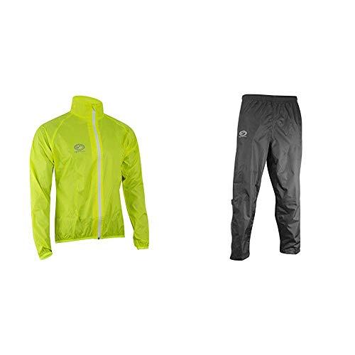 Optimum Mens Hawkley Cycling Rain Jacket Green Small with Optimum Mens Hawkley Cycling Waterproof Pants Black Small