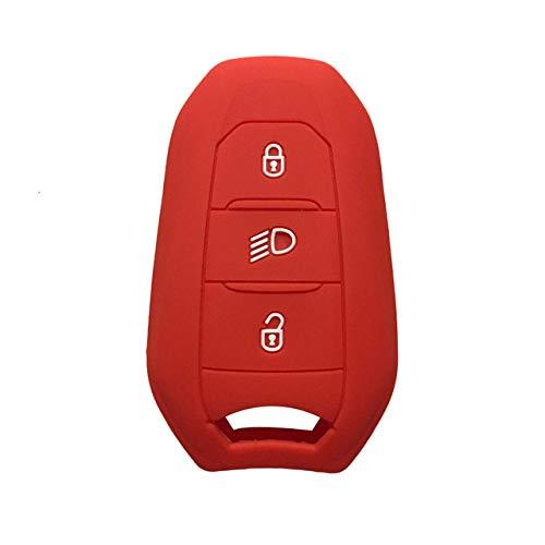FANLLOOD Funda para Llave de Coche con Soporte para Carcasa 5008 DS5 DS6 para Peugeot 208 DS3 para Citroen C4 C5 X7, Funda para Llave Inteligente de Goma de Silicona, Rojo