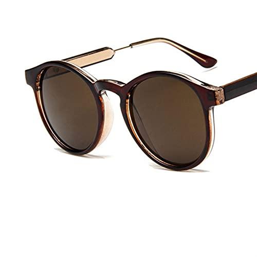 YCHH 2021 Nuevas Gafas de Sol Redondas Hombres Mujeres Productos Productos Leopardo Círculo Transparente Vidrios Oculos de Sol Feminino (Color : 5)