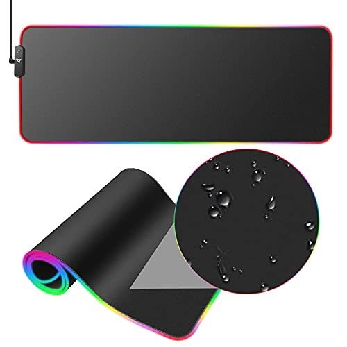 Dpower RGB Gaming Mouse Pad - Large Extended 13 Lighting Mode Soft LED Mouse Pad , Non-Slip Rubber Base, Waterproof, Computer Keyboard Mousepad Mat for Pro Gamer,31.5X11.8Inch (Black)
