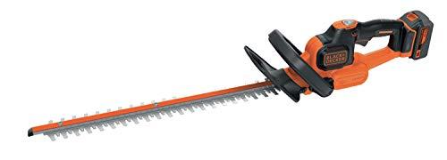 Black+Decker Akku-Heckenschere (18 V 4,0Ah, Antiblockierfunktion, 50 cm Schwertlänge, 18 mm Schnittstärke, für mittlere Hecken) GTC18504PC