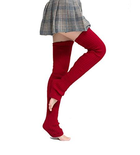 Nanxson Damen Lang Stulpe Leg Warmer Gestrickte Over-Knee Lange Beinstulpe Tanzen Strumpf TTW0065 wine