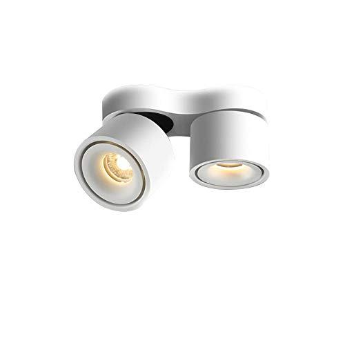 Focos montados en superficie LED de doble cabezal, plegable, ángulo ajustable, lámpara...