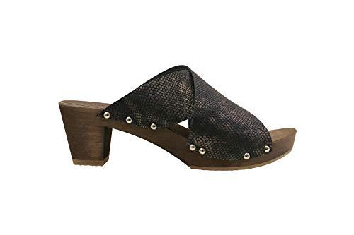 Sanita Ennike Square Flex Sandale | Original handgemacht |Flexible Ledersandale für Damen, Größe: 36 EU, Braun