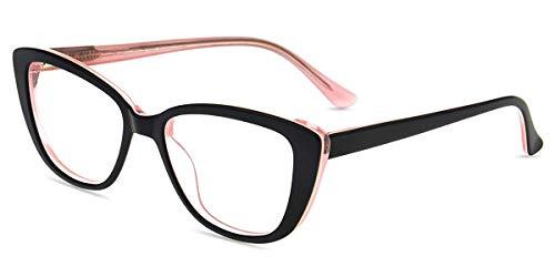 Firmoo Blaulichtfilter Brille Ohne Sehstärke Damen Katzenaugen, Retro Computerbrille gegen Blaulicht Müdigkeit, Entspiegelt Blaulicht UV Schutzbrille für Bildschirme, Acetate Schwarz-Pink Brille
