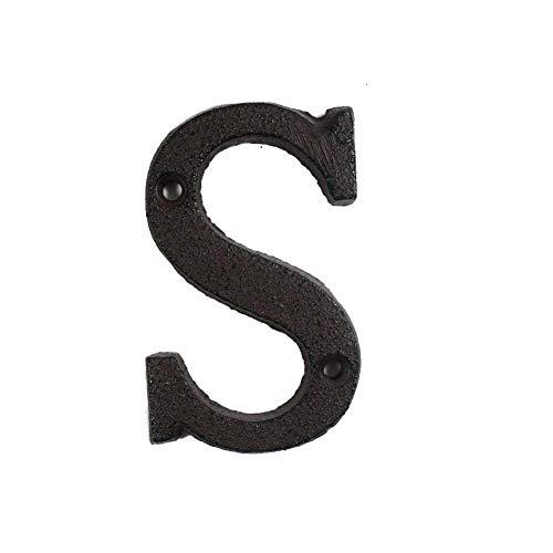 WGD A À Z, 0 À 9 Lettres Métalliques Et Chiffres en Fonte Décoration Maison Signe Doorplate Bricolage Café Mur 8cm Lettre en Fer Forgé Signes Dortoir Nombre (Color : S)