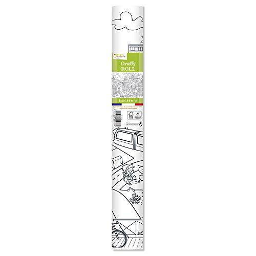 Avenue Mandarine gy083C graffy Roll 90g, rollos de papel para colorear, Póster 5m x 0,35m, para de fieltro y schreibstifte Adecuado, 1pieza, Ciudad de diseño ecológico