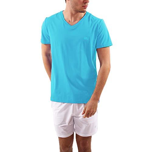 SPORTKIND T-Shirt de Tennis pour Homme et garçon XXL Turquoise.