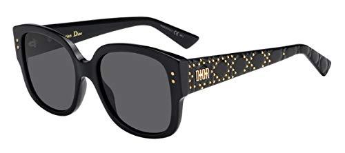 Dior Christian LadyDiorStuds2 gafas de sol w/grises de la lente 55mm 8072K LadyDiorStuds2 / S Ladydiorstuds2 señora Espárragos 2 2 LadyDiorStuds mujer Negro Grande