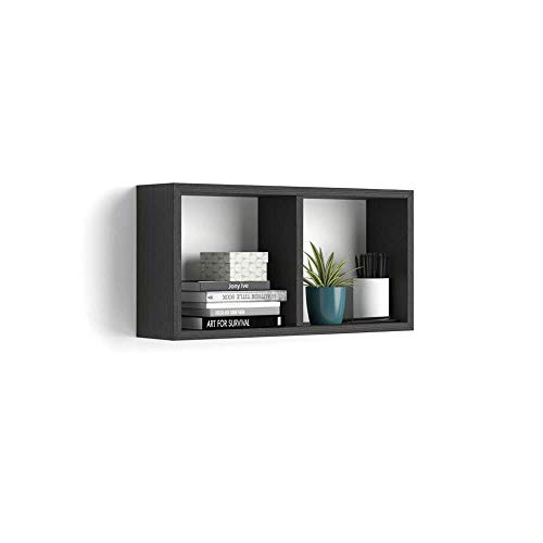 MOBILI FIVER, Estante en Forma de Cubo, Modelo First, de MDF, Color Negro Ceniza, 59 x 14,5 x 30 cm