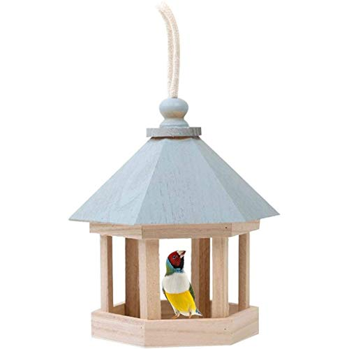 qwe XISABCS Wooden Hanging Wild Bird House Feeder, Weatherproof Design for Easy Cleaning & Refills