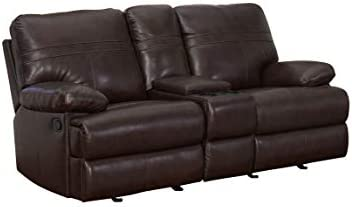 Best Abbyson Living Top Grain Leather Manual Glider Reclining Loveseat with Center Console, Brown