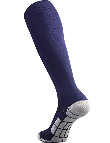 CWVLC Lillte Boy's Soccer Socks Kids Football Sport Team Athletic Knee High Long Tube Cotton Compression Socks Navy Blue X-Small (12C-13C Kids/ 1Y-3Y Youth)