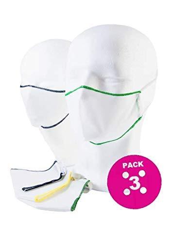 Mascherina Lavabile Estiva - Pack da 3 - Made in Italy in TNT doppio strato con bordino colorato - Sos Sartoria Rapida Franchising