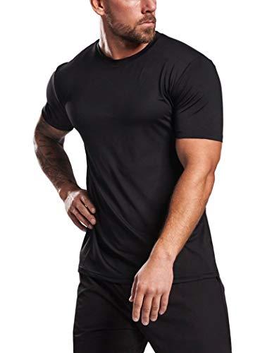 COOrun Mens Seamless Workout T-Shirt Short Sleeve Training Lifting Shirts Athletic Sports Tee (Black XL)