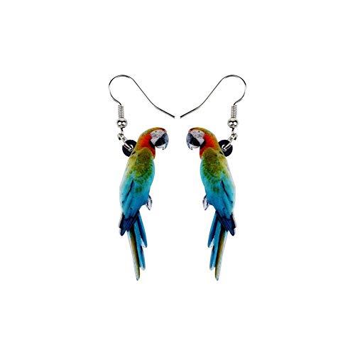 Pendientes de gota con diseño de loro exótico de pájaro multicolor con acabado plateado